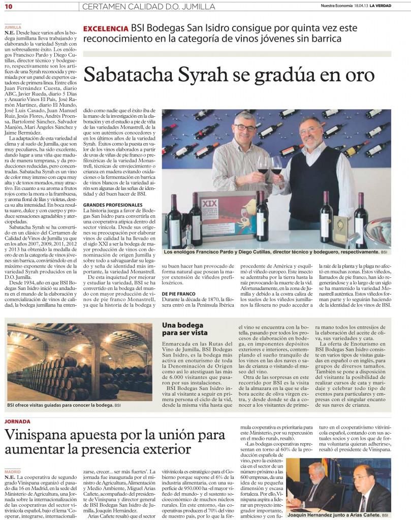 Sabatacha Syrah 2012 en Diario La Verdad