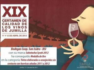 Cartel XIX Certamen de Calidad de los vinos de Jumilla